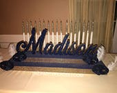 Masquerade Theme Sweet 16 Candelabra, Quinceanera & Mitzvah Candle Lighting Centerpiece - Large Size