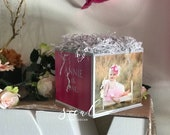 Photo Cube Centerpiece with frill paper perfect for Graduation, Sweet 16, Bat Mitzvah, Birthday, Engagement, first birthday, 1st
