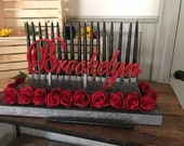 Beauty and the beast or Alice inspired  Sweet 16 Candelabra, Quinceanera & Mitzvah Candle Lighting Centerpiece - Medium Size with red roses!