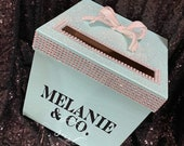 Tiffany inspired Rhinestone Card Box with large bow Sweet 16 / Wedding / Quince / Mitzvah
