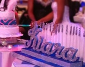 Sweet 16 Candelabra, Quinceanera & Mitzvah Candle Lighting Centerpiece - OMBRE Large Size with glitter candles