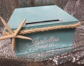 Nautical Beach Under the Sea Themed Card Box with starfish and sea rope - Sweet 16, Wedding, Quince, Mitzvah