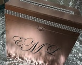 Rhinestone Rimmed Wood Wedding Card Box featuring Swarovski crystal embellishments