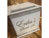 Large White Wedding or Sweet 16  Card Box in Sterling Silver, Rose Gold, Gold Rhinestone trim