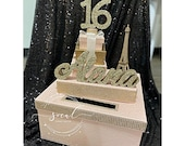 USA Made! Paris Theme Sweet 16 Card Box! GORGEOUS!! Eiffel Tower and Box Stack! Money Box