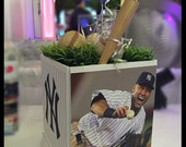 Sports Cube Centerpiece - Any Sport! Teams! Players! BaseBall / Hockey / Football / Jeter / Mitzvah / Birthday / Communion /