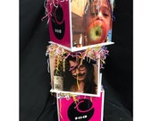 Photo Cube Centerpiece with frill paper perfect for Graduation, Sweet 16, Bat Mitzvah, Birthday, Engagement