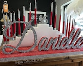 Step Tiered Candelabra Candle Lighting - Extra Large Glitter Candles for Sweet 16 / Quince / Mitzvah