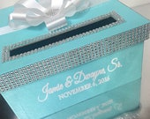SALE! Wedding Card Box gorgeous! Hand painted with rhinestones!