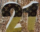 Lux Brand inspired birthday freestanding glitter numbers. Perfect for shopping theme!