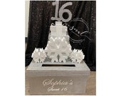 Winter wonderland Sweet 16 15 Quince Card Box! GORGEOUS!! Snowflakes and Gift Box Stack