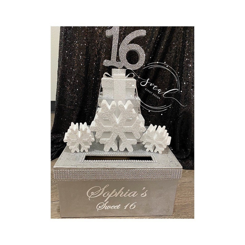 Winter wonderland Sweet 16 15 Quince Card Box GORGEOUS image 0