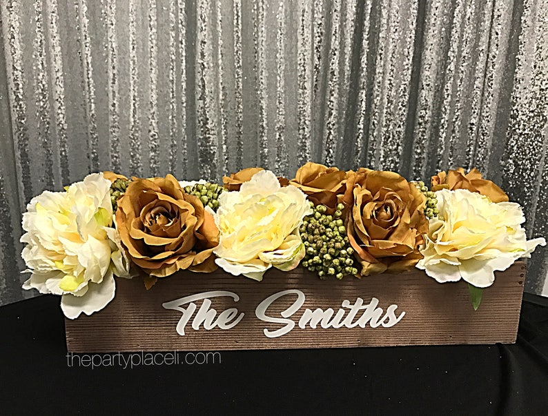 Rustic wedding floral centerpiece with custom saying image 0