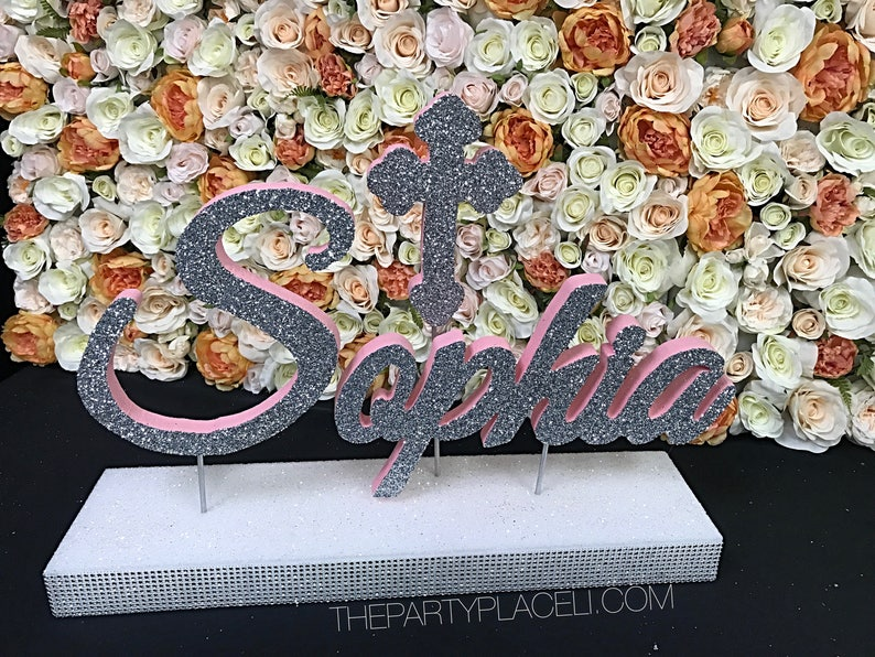 Communion or Confirmation Custom Script Name Centerpiece with image 0