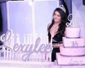 Winter Wonderland Frozen Sweet 16 Candelabra, Quinceanera & Mitzvah Candle Lighting Centerpiece with glitter candles- Large Size