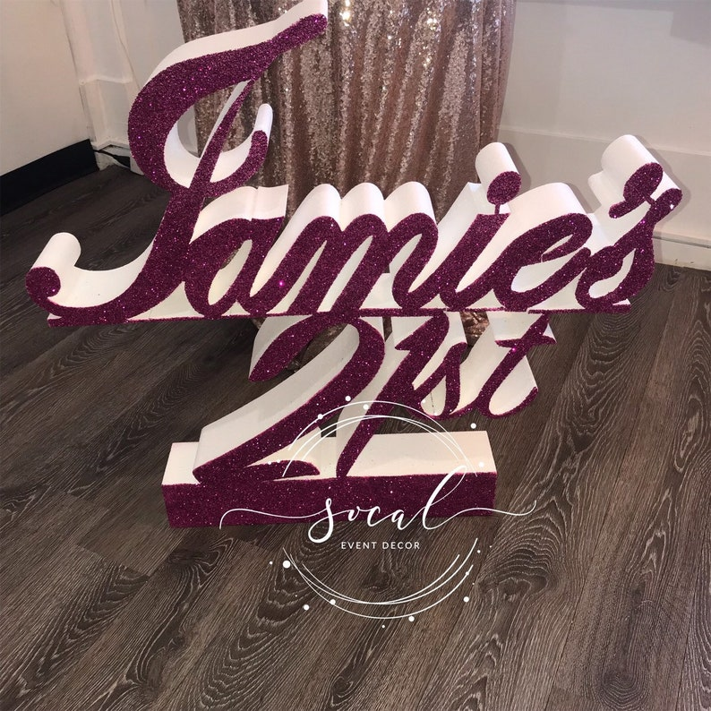 Birthday prop with any name and age Free standing  Perfect image 0