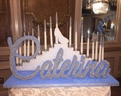 USA Made! Step Tiered Candelabra Candle Lighting - Extra Large with Glitter Candles for Sweet 16 / Quince / Mitzvah