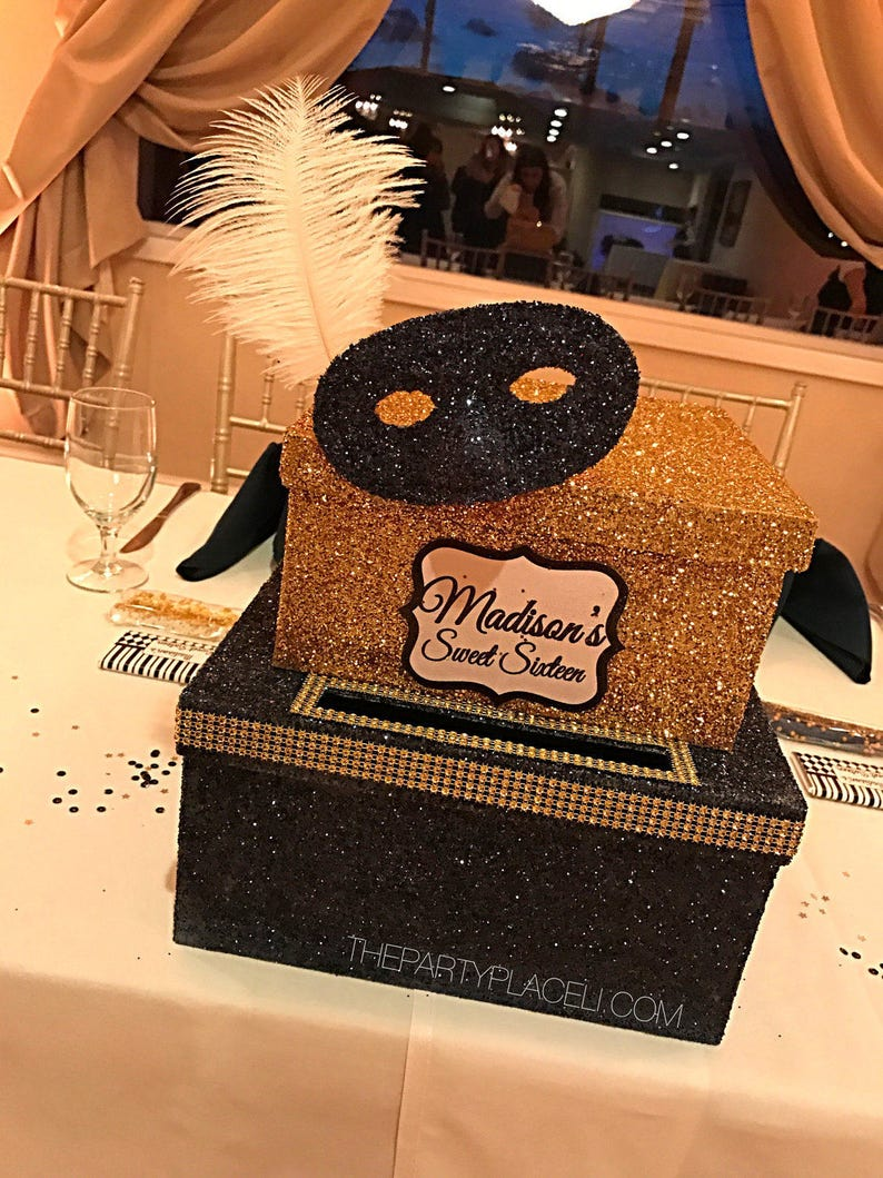 Two-Tier Card Box Glitter and Bling Large for Sweet 16 image 0