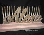 Rose Gold Blush Sweet 16 Candelabra, Quinceanera & Mitzvah Candle Lighting Centerpiece -SK T