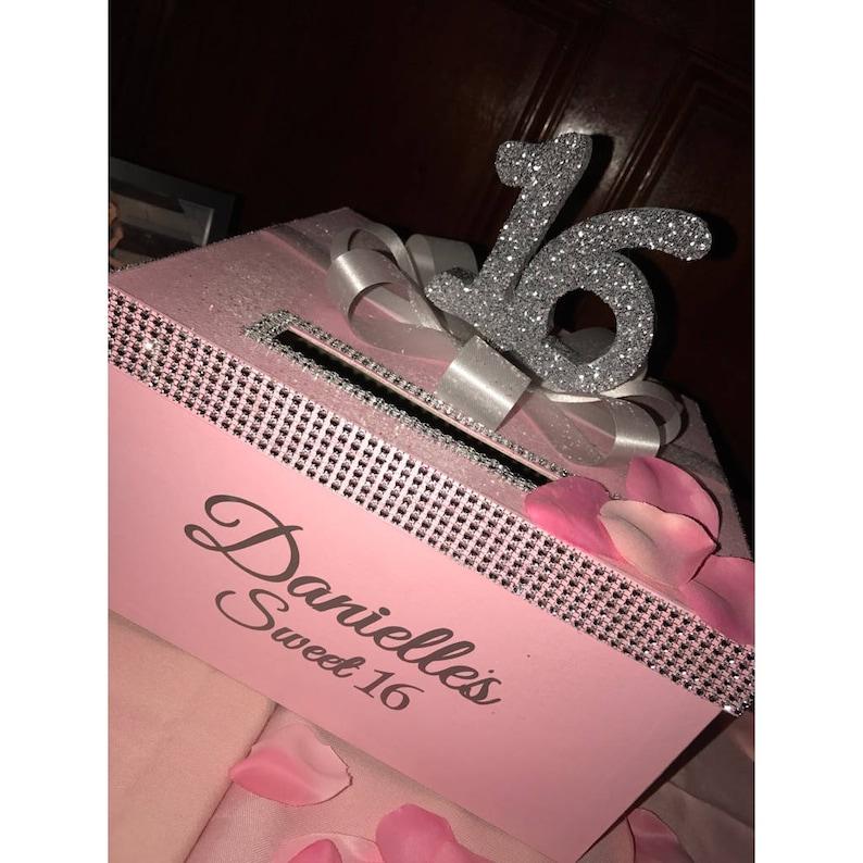 Rhinestone Card Box with glittered 16 large bow Sweet 16 / image 0