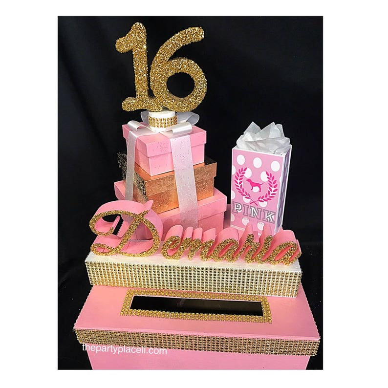 Shopping Theme Sweet 16 Quince Card Box GORGEOUS Your image 0