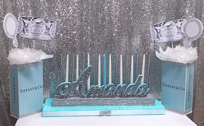 Sweet 16 Candelabra AND Centerpieces Tiff blue theme with image 0