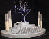 Winter wonderland Rounded Candelabra Candle Lighting w lighted Manzanita crystal tree & candles for Sweet 16 / Quince