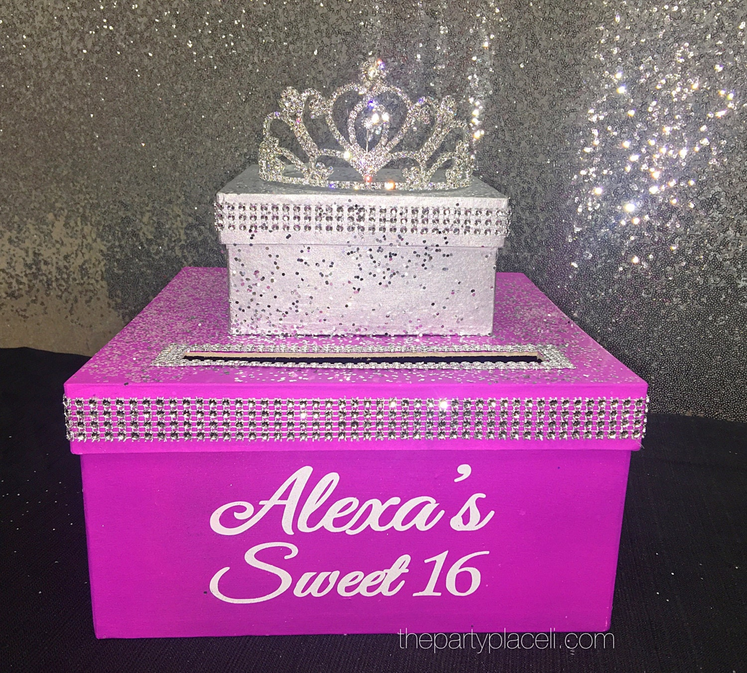 Two-Tier Card Box with Princess tiara and Bling Large for