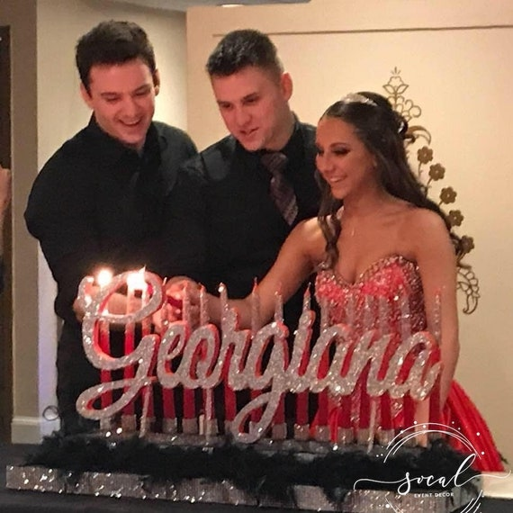 Quinceanera /& Mitzvah Candle Lighting Centerpiece in special font Large Size with Cinderella inspired silhouette Sweet 16 Candelabra