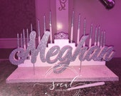 USA Made! Step Tiered Candelabra Candle Lighting - Extra Large with crystal tiara crown Glitter Candles for Sweet 16 / Quince / Mitzvah