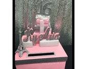 Paris Theme Sweet 16 Card Box! GORGEOUS!! Eiffel Tower and Box Stack! Money Box