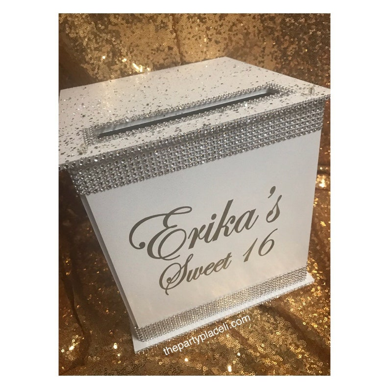 Large White Wedding or Sweet 16  Card Box in Sterling Silver image 0