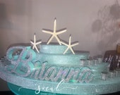 Rounded Candelabra Candle Lighting with starfish under the sea beach theme - Extra Large with candles Sweet 16 / Quince / Mitzvah