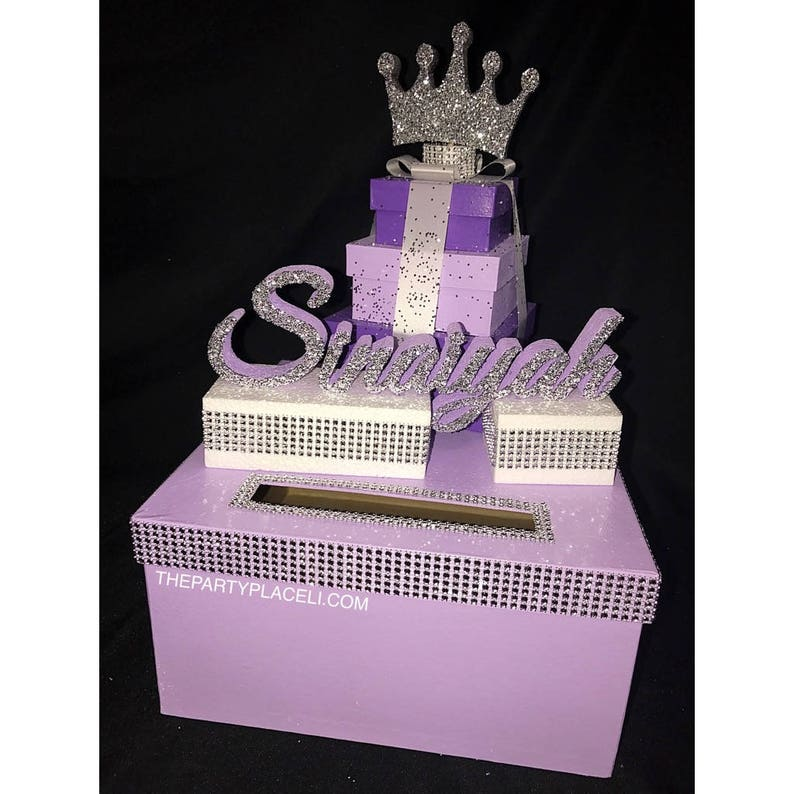 Prince or Princess Crown Tiara Card Box GORGEOUS Glittered image 0