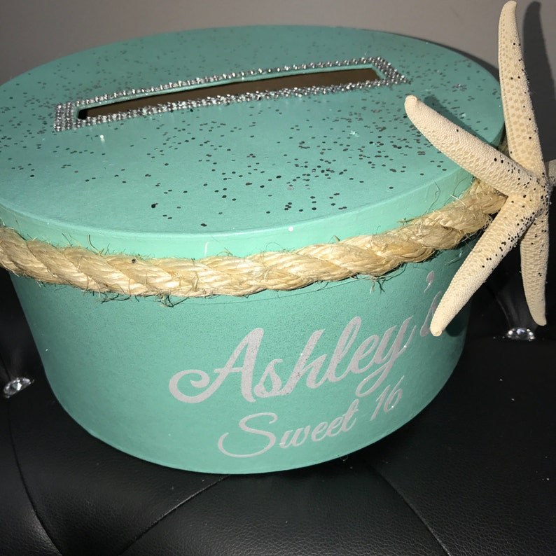 Nautical Beach Under the Sea Themed Round Card Box with image 0