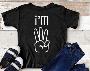 3rd Bday Three Year Old Third Birthday Gift Toddler//Kids Long sleeve T-Shirt I/'m