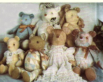 Stuffed Teddy Bear Sewing Pattern UNCUT Simplicity 7826 Designer Marjorie Puckett 3 Sizes Plush Bear Toy