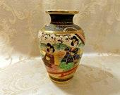 Meiji Kinkozan Satsuma Moriage Vase Geisha Girls Embellished with Gold