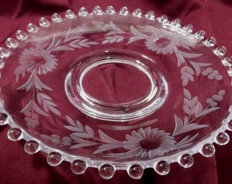 "Vintage Candlewick Etched Floral Glass 5.75"" Under Plate/Liner Imperial"