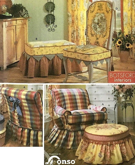 Amazing Chair Ottoman Covers Sewing Pattern Uncut Simplicity 5081 Designer Botsford Interiors English Cottage French Country Slipcovers Ncnpc Chair Design For Home Ncnpcorg