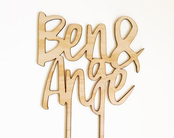 Party supplies etsy au custom mdf or bamboo veneer wedding cake topper personalised wooden wedding decor laser cut junglespirit Image collections