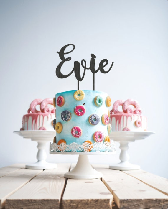 Astonishing Custom Name Birthday Cake Topper Personalised Wooden Name Cake Etsy Funny Birthday Cards Online Aeocydamsfinfo