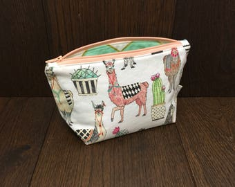 Llama and Cactus Zipper Pouch