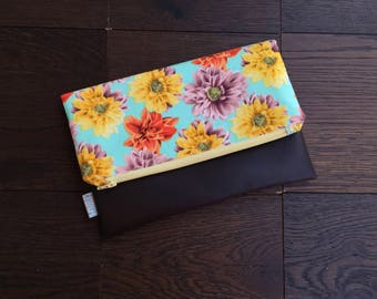 Floral Fold Over Clutch with Vegan Leather Bottom
