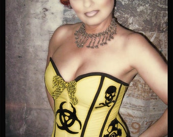 Rockabilly, Pinup, Gothic Yellow and black velvet Biohazard Corset Top