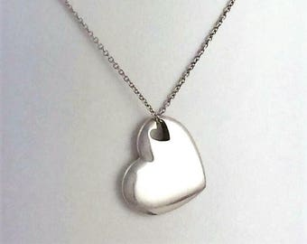 Tiffany & Co. Double Cut-Out Heart Pendant Necklace 6e12