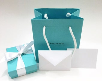 Tiffany & Co. Authentic Blue Box, Pouch, Gift Bag, Tiffany Card and Satin Ribbon