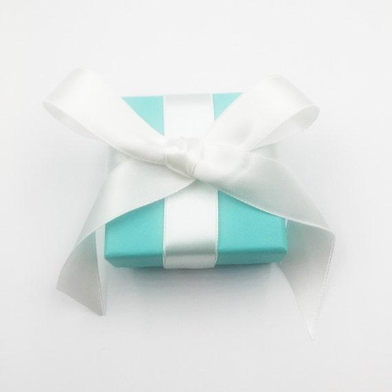 cefecd28528 Tiffany & Co. Blue Square Jewelry Box with Ribbon   Etsy