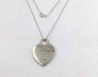 Vintage RETURN TO TIFFANY Heart Tag Long Bead Necklace N72478
