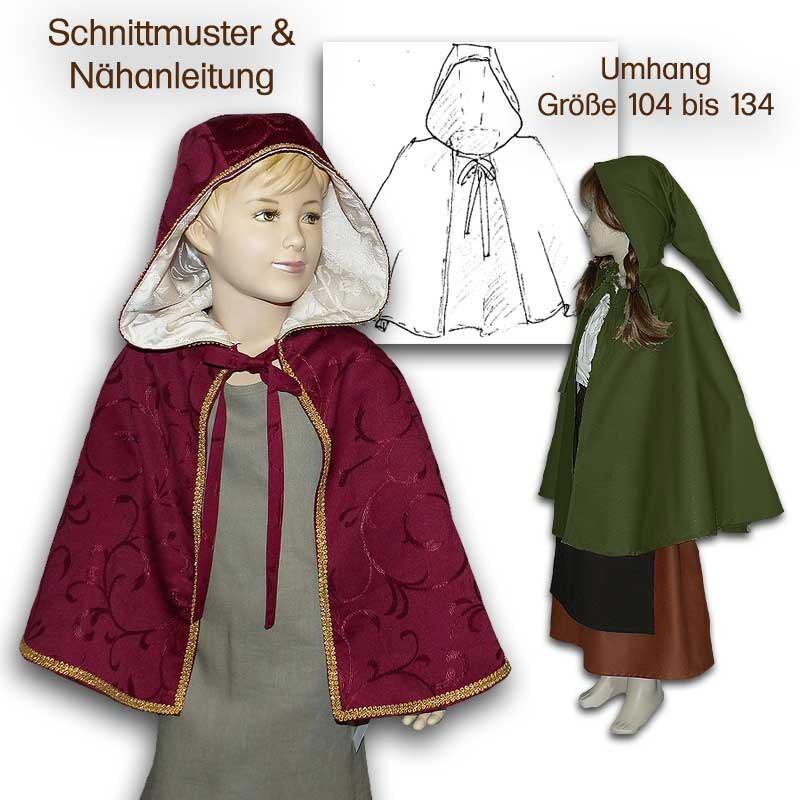 Schnittmuster e-book Mittelalterumhang für Kinder pattern